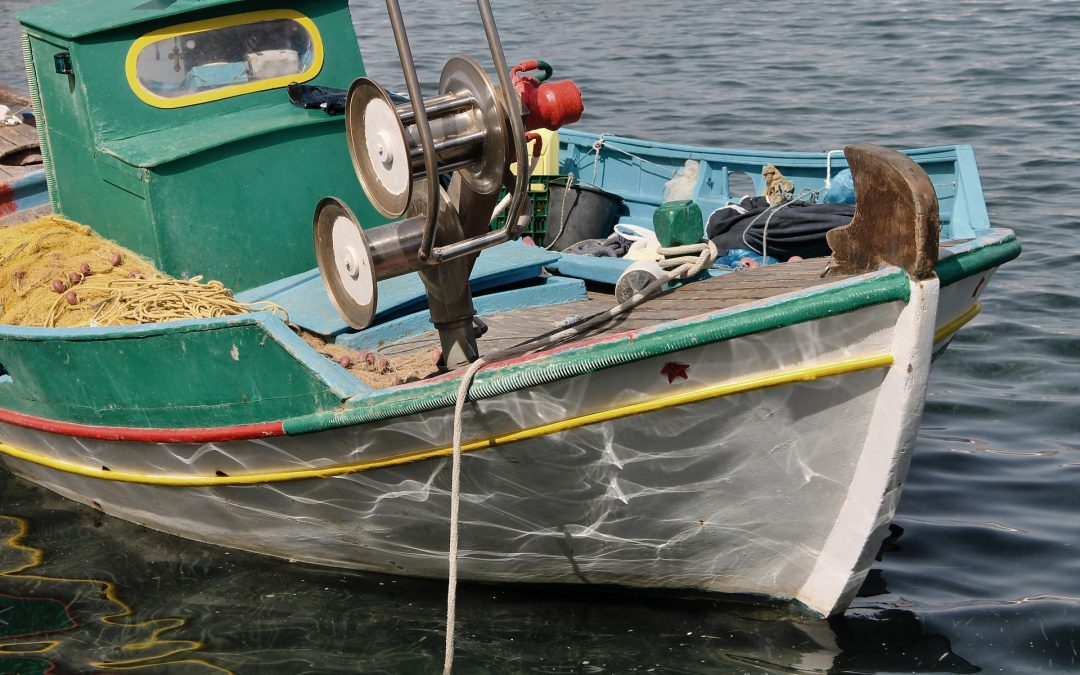 Fishing boat and some accessories inside it
