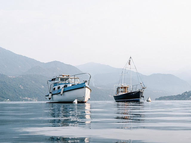 two fishing boats in a lake